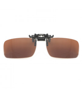 HKUCO Polarized Brown Clip-on Flip-up Sunglasses Small Lenses