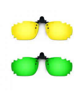 HKUCO Sunglasses Clip 24K Gold/Emerald Green Polarized Lenses For Myopia Frame Clip Polarized Lenses UV400 Protect