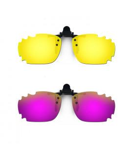 HKUCO Sunglasses Clip 24K Gold/Purple Polarized Lenses For Myopia Frame Clip Polarized Lenses UV400 Protect