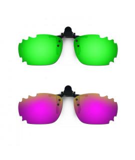 HKUCO Sunglasses Clip Green/Purple Polarized Lenses For Myopia Frame Clip Polarized Lenses UV400 Protect