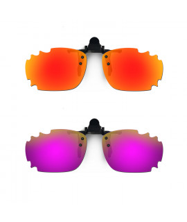 HKUCO Sunglasses Clip Red/Purple Polarized Lenses For Myopia Frame Clip Polarized Lenses UV400 Protect