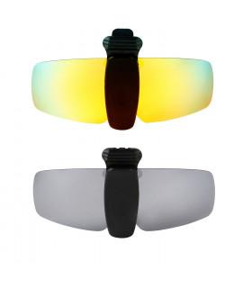 HKUCO Sunglasses Clip 24K Gold/Titanium Polarized Lenses Hat Visors Clip-on Sunglasses For Fishing/Biking/Hiking/Golf UV400 Protect