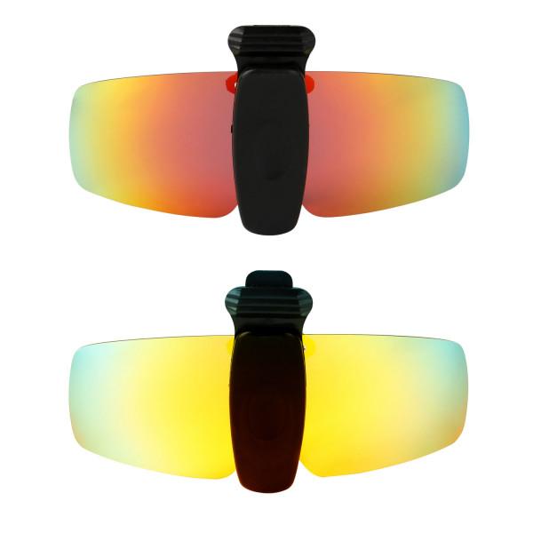 HKUCO Sunglasses Clip Red/24K Gold Polarized Lenses Hat Visors Clip-on Sunglasses For Fishing/Biking/Hiking/Golf UV400 Protect