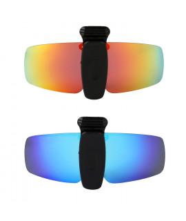 HKUCO Sunglasses Clip Red/Blue Polarized Lenses Hat Visors Clip-on Sunglasses For Fishing/Biking/Hiking/Golf UV400 Protect