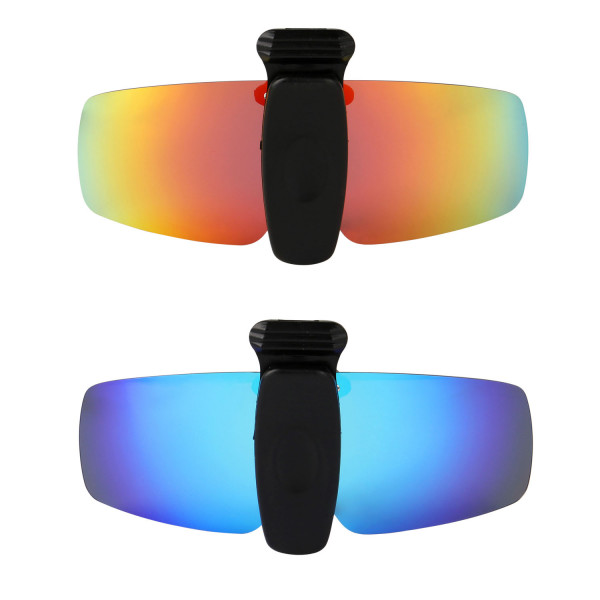 HKUCO Sunglasses Clip Red/Blue Polarized Lenses Hat Visors Clip-on Sunglasses For Fishing/Biking/Hiking/Golf UV400 Protect