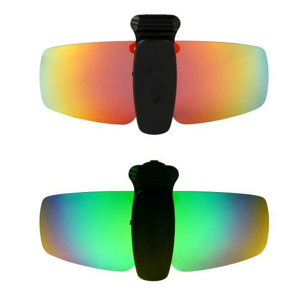 HKUCO Sunglasses Clip Red/Emerald Green Polarized Lenses Hat Visors Clip-on Sunglasses For Fishing/Biking/Hiking/Golf UV400 Protect