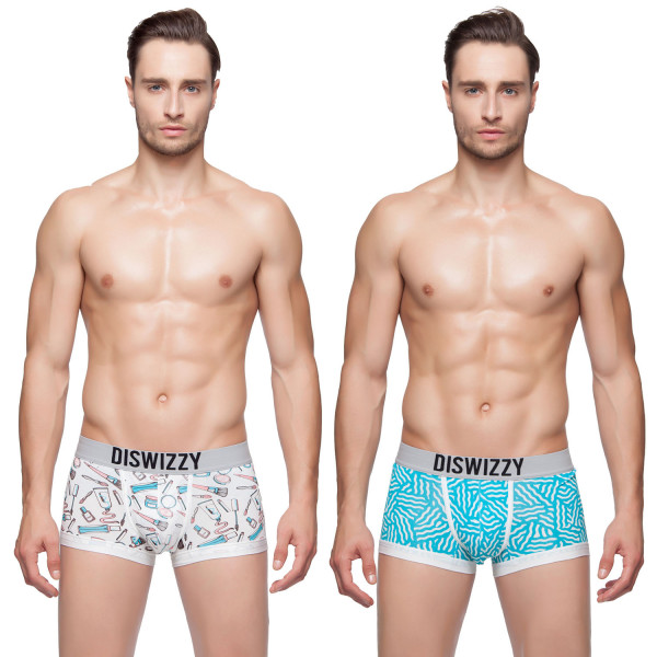 Hkuco Diswizzy Men's Underwear White Cosmetic Pattern And Disordered Blue Stripe Pattern 2-Pack