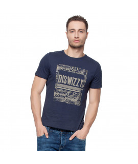Hkuco Diswizzy Men's T-Shirt Blue Iron Leaf Pattern