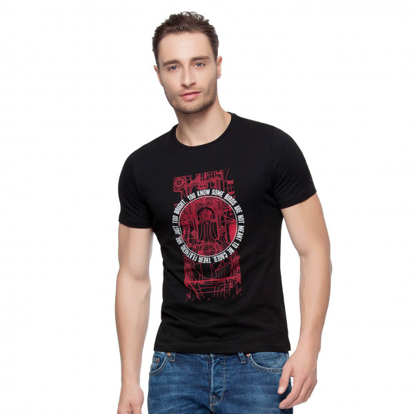 Hkuco Diswizzy Men's T-Shirt Carbon Black - Red Line Mechanical Pattern - White Circle Character