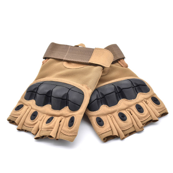 HKUCO Light Brown Outdoor Sports Half Finger For Riding/Climbing/Training/Tactical Gloves /Cycling Antiskid Gloves