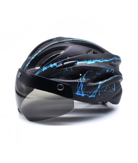 HKUCO Black- Blue splash Ultra-light Safety Sports Bike Helmet With Windproof Glasses MTB Insect Net Integrally Molded