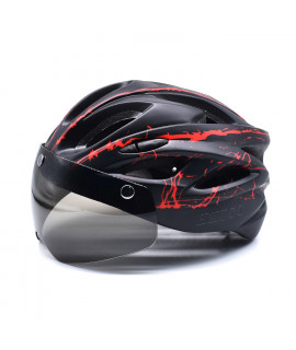 HKUCO Black- Red splash Ultra-light Safety Sports Bike Helmet With Windproof Glasses MTB Insect Net Integrally Molded