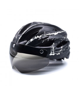 HKUCO Black-White splash Ultra-light Safety Sports Bike Helmet With Windproof Glasses MTB Insect Net Integrally Molded