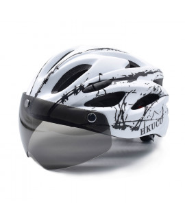 HKUCO White- Black splash Ultra-light Safety Sports Bike Helmet With Windproof Glasses MTB Insect Net Integrally Molded