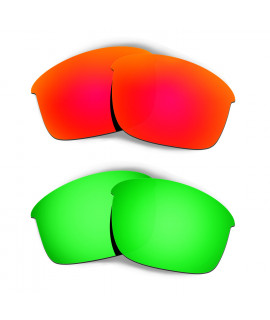 Hkuco Mens Replacement Lenses For Oakley Bottle Rocket Red/Emerald Green Sunglasses