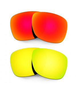 Hkuco Mens Replacement Lenses For Oakley Catalyst Red/24K Gold Sunglasses