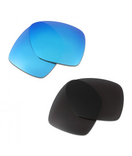 HKUCO Blue+Black Polarized Replacement Lenses for Oakley Deviation Sunglasses