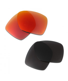 HKUCO Red+Black Polarized Replacement Lenses for Oakley Deviation Sunglasses