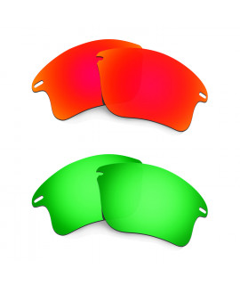 Hkuco Mens Replacement Lenses For Oakley Fast Jacket XL Red/Emerald Green Sunglasses