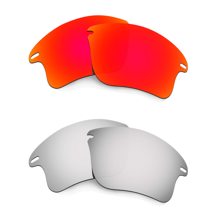 585f91fb58 Hkuco Mens Replacement Lenses For Oakley Fast Jacket XL Red Titanium  Sunglasses