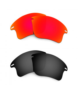 HKUCO Red+Black Polarized Replacement Lenses for Oakley Fast Jacket XL Sunglasses