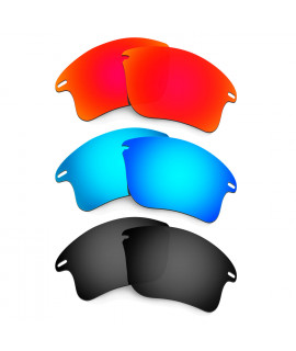 HKUCO Red+Blue+Black Polarized Replacement Lenses for Oakley Fast Jacket XL Sunglasses