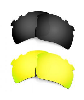 Hkuco Mens Replacement Lenses For Oakley Flak 2.0 XL-Vented Black/24K Gold Sunglasses