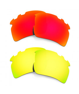 Hkuco Mens Replacement Lenses For Oakley Flak 2.0 XL-Vented Red/24K Gold Sunglasses