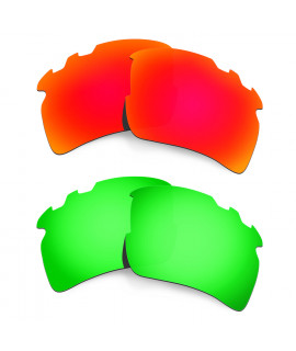 Hkuco Mens Replacement Lenses For Oakley Flak 2.0 XL-Vented Red/Emerald Green Sunglasses