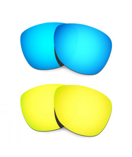 HKUCO Blue+24K Gold Mirror Polarized Replacement Lenses For Oakley Frogskins Sunglasses