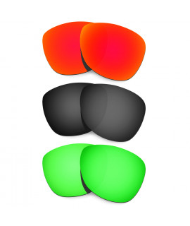 HKUCO Red+Black+Emerald Green Mirror Polarized Replacement Lenses For Oakley Frogskins Sunglasses