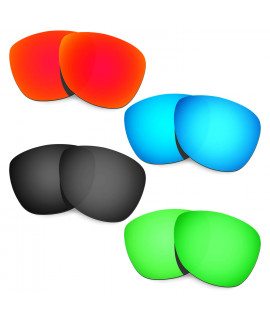 HKUCO Red+Blue+Black+Emerald Green Mirror Polarized Replacement Lenses For Oakley Frogskins Sunglasses