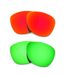 HKUCO Red+Emerald Green Mirror Polarized Replacement Lenses For Oakley Frogskins Sunglasses