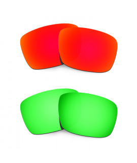 Hkuco Mens Replacement Lenses For Oakley Fuel Cell Red/Emerald Green Sunglasses