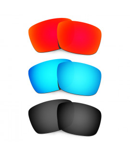 HKUCO Red+Blue+Black Polarized Replacement Lenses For Oakley Fuel Cell Sunglasses