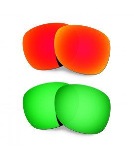 Hkuco Mens Replacement Lenses For Oakley Garage Rock Red/Emerald Green Sunglasses