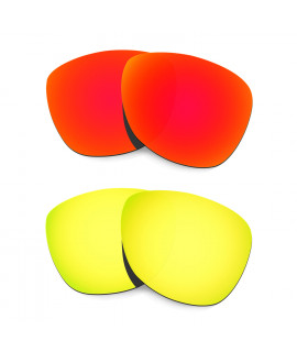 Hkuco Mens Replacement Lenses For Oakley Frogskins (Asia Fit) Red/24K Gold Sunglasses
