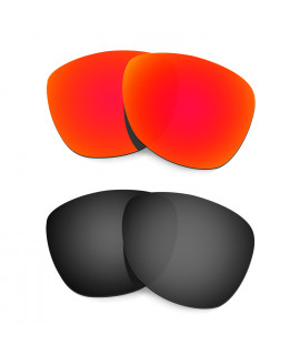 Hkuco Mens Replacement Lenses For Oakley Frogskins (Asia Fit) Red/Black Sunglasses
