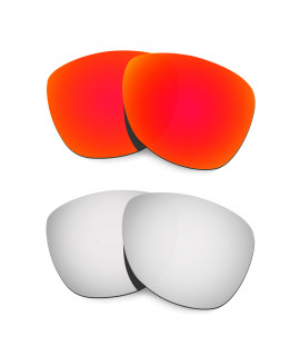 Hkuco Mens Replacement Lenses For Oakley Frogskins (Asia Fit) Red/Titanium Sunglasses