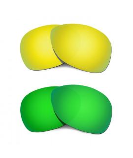 Hkuco Mens Replacement Lenses For Oakley Crosshair (2012) 24K Gold/Emerald Green Sunglasses