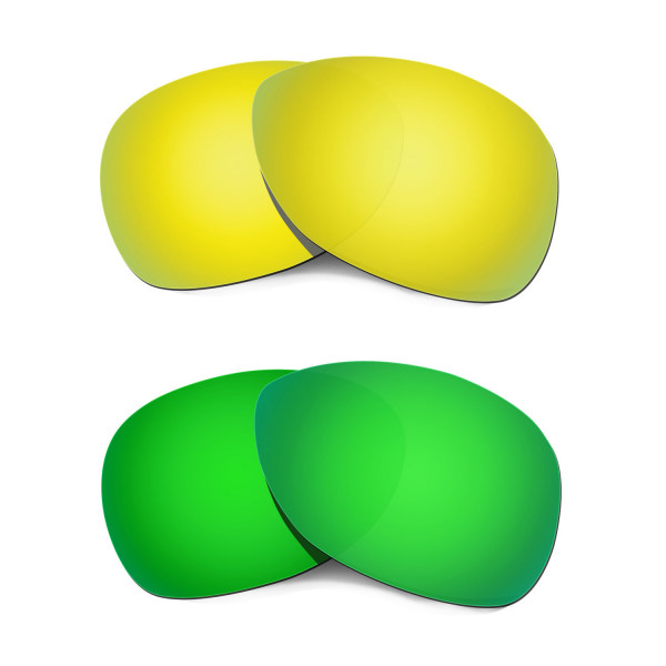Hkuco Mens Replacement Lenses For Oakley Crosshair (2012) 24K Gold/Emerald Green Sunglasses