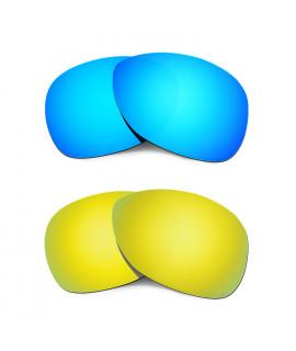 Hkuco Mens Replacement Lenses For Oakley Crosshair (2012) Blue/24K Gold Sunglasses