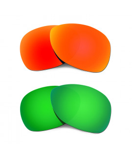 Hkuco Mens Replacement Lenses For Oakley Crosshair (2012) Red/Emerald Green Sunglasses