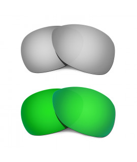 Hkuco Mens Replacement Lenses For Oakley Crosshair (2012) Titanium/Emerald Green  Sunglasses
