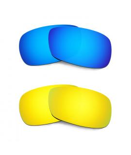 Hkuco Mens Replacement Lenses For Oakley Crosshair 2.0 Blue/24K Gold Sunglasses