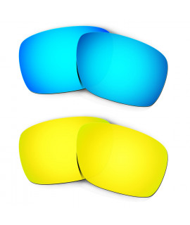 Hkuco Mens Replacement Lenses For Oakley Turbine Blue/24K Gold Sunglasses