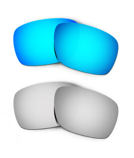 Hkuco Mens Replacement Lenses For Oakley Turbine Blue/Titanium Sunglasses