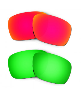 Hkuco Mens Replacement Lenses For Oakley Turbine Red/Emerald Green Sunglasses