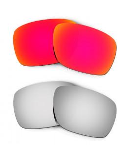 Hkuco Mens Replacement Lenses For Oakley Turbine Red/Titanium Sunglasses