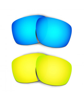 Hkuco Mens Replacement Lenses For Oakley Sliver Blue/24K Gold Sunglasses